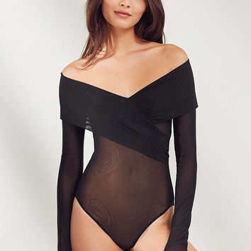 Out From Under Isabel Crossover Mesh Bodysuit | Urban Outfitters