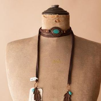 J. Forks Leather Wrap w/Turquoise Concho