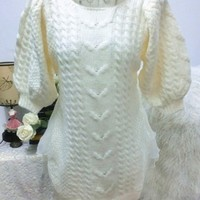 Handmade beading thick knitted sleeveless one-piece dress