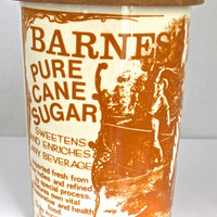 Vintage Advertising Barnes London Pure Cane Sugar English Ironstone Lidded Kitchen Canister Utensil Holder Jar Brown Print