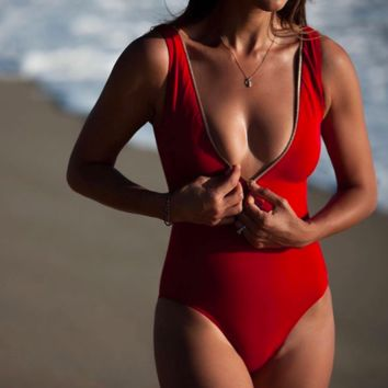 Red Zip-Up One Piece
