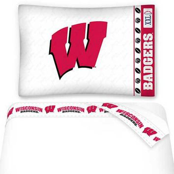 NCAA Wisconsin Badgers Sheets Set College Football Bedding