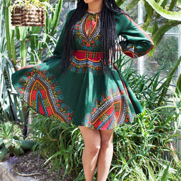 THE ZHARA Dashiki Dress in Forest Green - Zuvaa