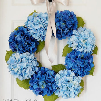 Blue Hydrangea Wreath, Front Door Wreath, Spring Wreath, Summer Wreath, Country Wreath, Royal Blue, Light Blue
