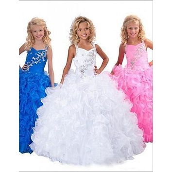 2017 first communion Blue White Pink Flower Girl Dress Cute Ball Gown Halter Summer Girls Pageant Dress for Weddings Party Gown