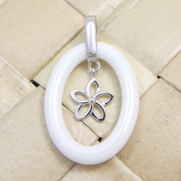 925 Sterling Silver Rhodium Hawaiian Plumeria Flower White Ceramic Oval Pendant
