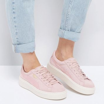Puma Suede Satin Platform Trainers in Pink at asos.com