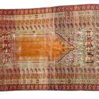 4x5.5 Vintage Distressed Turkish Orange Prayer Rug