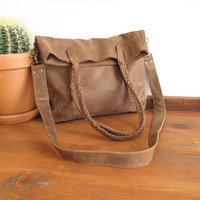 Brown Leather Bag, Leather Tote Bag, Messenger Bag, Distressed Leather Bag, Southwestern Bags, Fold Over Purse, Large Leather Bag