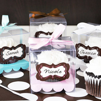 Clear Cupcake Boxes - Cupcake Box Insert - Clear Cupcake Favor Boxes - Individual Cupcake Boxes - Single Mini Cupcake Box - set of 12
