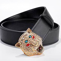 GUCCI Fashion New Diamond Leopard Head Buckle Women Men Leather Belt Width 3 CM