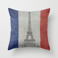Distressed National Flag of France with Eiffel Tower insert Throw Pillow by Bruce Stanfield