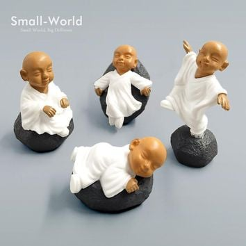 Chinese Buddhism Mini Buddhist Monks Kawaii people buddha statue resin craft Bonsai Figurine Decoration fairy garden Miniature