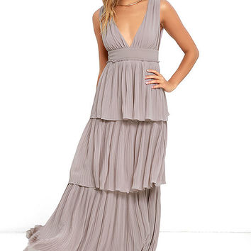 Gently Adrift Taupe Maxi Dress