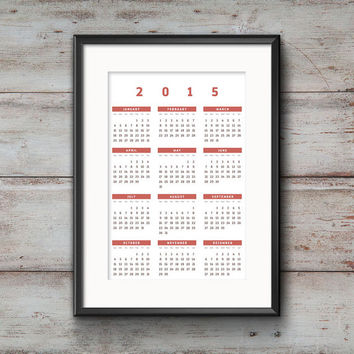 2015 Wall Calendar Poster #04 // Home decor / Wall decoration for your home / New year / Digital download / Go green, print yourself!