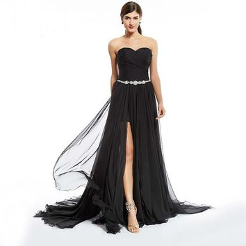 Split front evening dresses black strapless floor length dress train ruched chiffon party long evening gown
