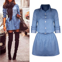 Vintage Denim Long Sleeve Casual Mini Dres