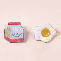 New Arrivals milk and egg patch embroidered pin embroidered patch cute pin milk pin egg pin