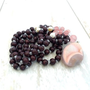 Pink Chalcedony And Red Sandalwood Mala Beads, Freshwater Pearl Mala, Pink Mala Necklace, 108 Wood Bead Mala, Yoga Meditation Beads