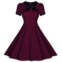 Retro Style Round Collar Short Sleeve Spliced Button Embellished Women's Dress | Kitty's Clawset