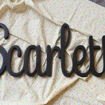 scarlett script gray wooden name sign painted nursery letters