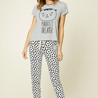 Sleeping Cat Print PJ Set