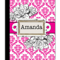 PERSONALIZED IPAD 2 3 New folio Case Victorian Pink Damask Flowers Name Custom any color monogram design