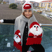 Kids Santa Hat and Scarf Set Knitted Hat and Beanie Set Kids Christmas Gift