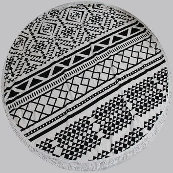 CREYU3C Round Towel Scarve Fashion Mandala Tapestry Beach Picnic Throw with lace Rug Blanket Polyester Cotton Beach Towel