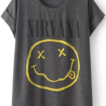 Grey Short Sleeve NIRVANA Graphic Print T-Shirt