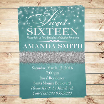 Printable Sweet 16 Birthday Party invitation Blue silver glitter Sweet Sixteen printable birthday party invites Turquoise custom invitations