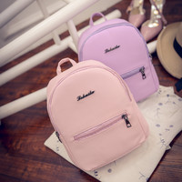 2016 Simple lovely harajuku backpack female student summer small bag han edition small pure and fresh and pure color pu backpack