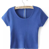 Blue Scoop Neckline Zip Up Crop Top