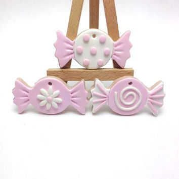 Pink and White Candy Sweets, Polymer Clay Baptism Decoration, Wedding Decoration, Craft Supplies, Christening, Baby Girl, Βάπτιση