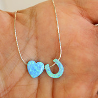 LOVE YOU Necklace / Heart Horseshoe Opal Necklace / Opal Pendant Necklace / Sterling Silver Necklace / Gift For Mother / Opal Jewelry