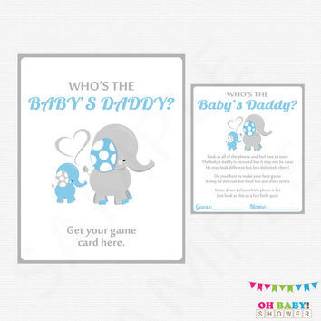 Blue Elephant Baby Shower Games Who's the Baby's Daddy Guess the Baby Daddy Printable Blue and Gray Boy Baby Shower Instant Download ELLBG