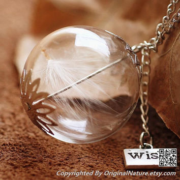 Nature Inspired Jewelry Real Dandelion Necklace Pendant Gift (HM0100)