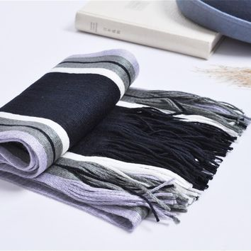 2017 new Male winter Skinny striped scarf Knitted Patchwork Thickening Warm Long Scarves Shawl Wrap Casual scarves hot sale