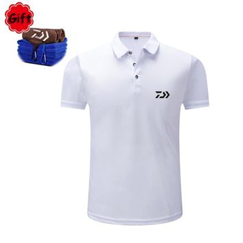 Men Summer Fishing Clothings Black Cotton Short Sleeve Fishing T Shirt Breathable Outdoor Sports Running Tops Jersey Gift Towel