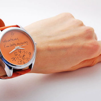 Unisex Handmade Watch with a real leather band  by HandMadePeople