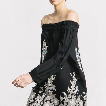 free people temperament fashion off shoulder long sleeve retro ethnic flowers embroidery mini dress