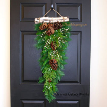 Christmas wreath winter wreaths Christmas swag birch bark gift ideas wreath front door decorations Merry Christmas wreaths