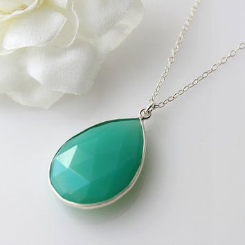Chrysoprase Sterling Silver Pendant Necklace, Blue Green Stone, Healing Stone, 925 Sterling
