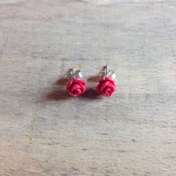 Rose stud earrings in red, black, white, pink with sterling silver backs