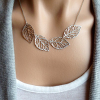 Silver Leaf Bib Necklace - gift, mother, daughter, bridesmaid, sister, wife, friend, birthday