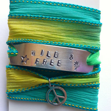 Wild and Free - Gypsy Soul Goddess Inspirational Silk Wrap Bracelet Hand Stamped - Boho Jewelry - Free Spirit - Gifts For Her