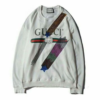 GUCCI Tide brand classic letter print sequins men's round neck sweater Grey