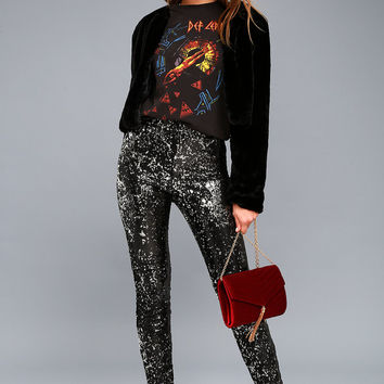 Encore Silver and Black Sequin Leggings