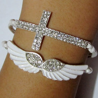 Diamonds bracelet, Angel wings  Bracelet,cross bracelet,white bracelet,--Antique Silver Bracelet -Christmas gift -  Best Chosen Gift
