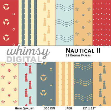 Nautical Digital Paper with Lighthouses, Waves, Starfish, Clams, Life Preservers, Polka Dots, and Stripes in Red, Teal, Orange, and Cream